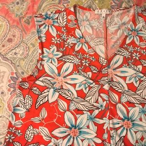 CHAUS   Coral & Aqua Floral-Patterned Tunic Blouse